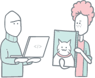 Illustration of a person holding a laptop and a person holding a picture of cat